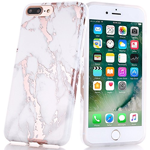 iphone 7 plus case shiny rose gold white marble design. Black Bedroom Furniture Sets. Home Design Ideas
